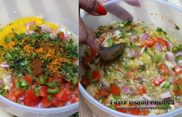 Add red chilli powder, turmeric powder, coriander powder, garam masala powder, black pepper powder, cumin powder, dried oregano, salt to taste and chopped coriander leaves
