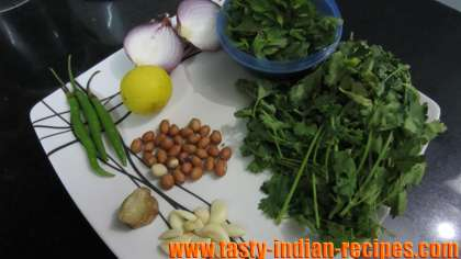 Fresh and rinsed ingredients for making mint chutney