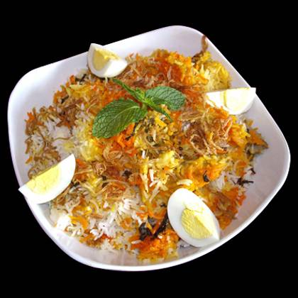 Chicken Dum Biryani Served with Boiled Eggs