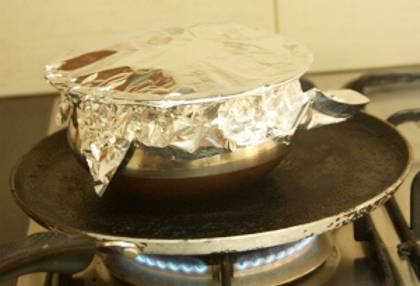 Pot Covered with aluminum foil