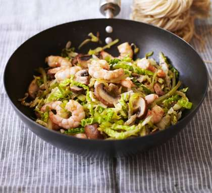 Prawns and cabbage