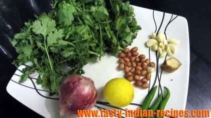 Ingredients for making green chutney