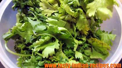 Rinsed and Chopped Coriander leaves