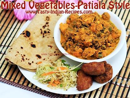 Mixed vegetables patiala style recipe mix veg recipe mixed vegetable patiala style forumfinder Images