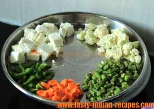 Vegetables for making Biryani