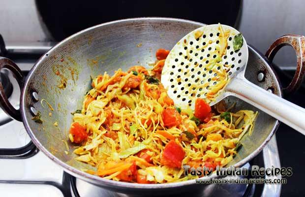 Add red chili powder, turmeric powder, sugar, coriander powder, dry mango powder and salt to taste. Stir fry on medium flame till the mixture dries