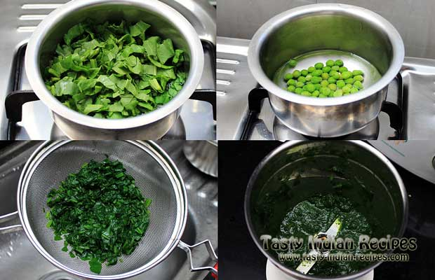 Boil the Spinach and Green peas separately. Drain the spinach and blend into a smooth puree