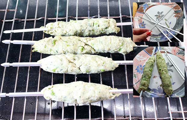 Apply some oil on wooden skewers and arrange the kebabs in it. Place the Kebabs onto the Skewers and then place on the grill