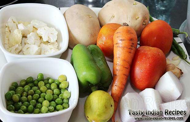 Ingredients for making Pav Bhaji