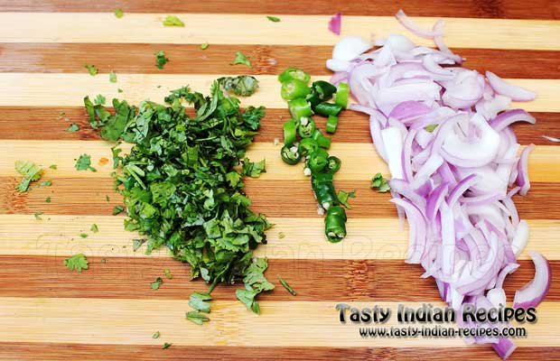 Chop Coriander and Green Chillies Finely