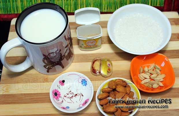 Ingredients require for making Saffron Flavored Almond Milk (Milk, Sugar, Saffron, Almonds, Green Cardamom and Cardamom powder)