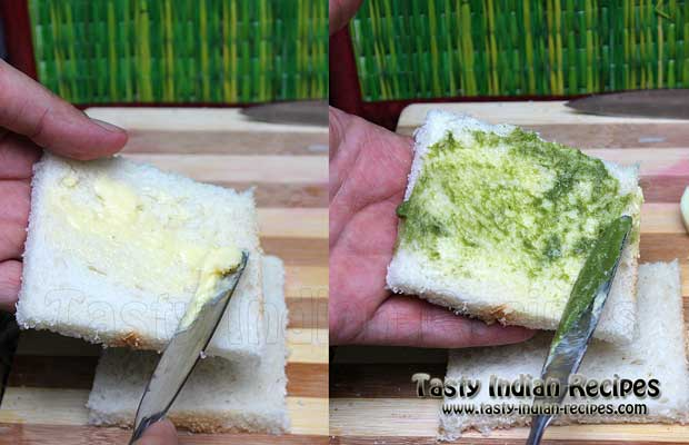 Apply little bit of butter and coriander chuntey on bread slices