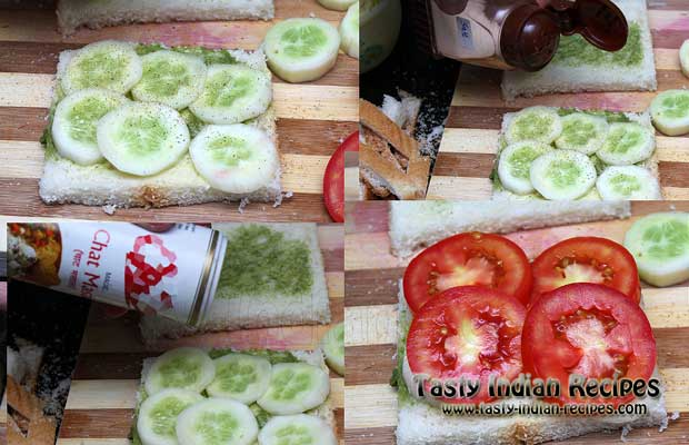 Place few pieces of cucumber and sprinkle salt and chaat masala powder. Then arrange few pieces of tomatoes as well