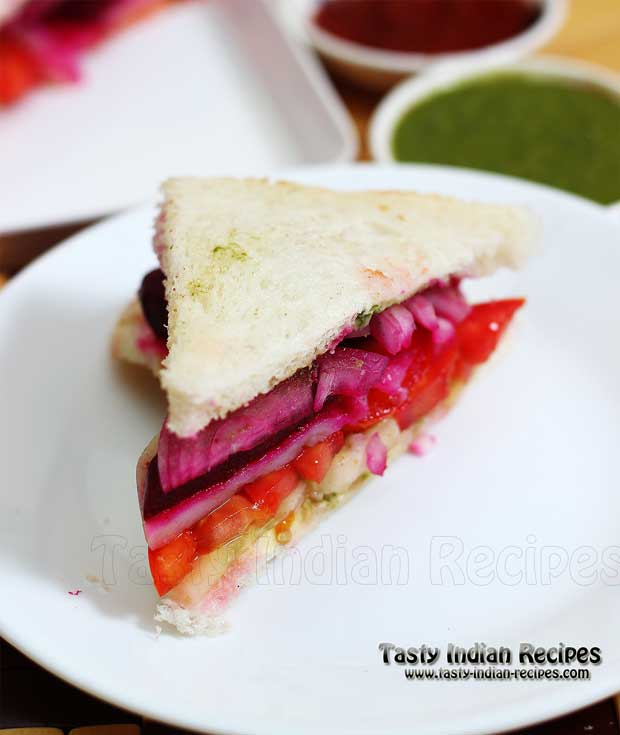 Vegetable Sandwich is ready to serve