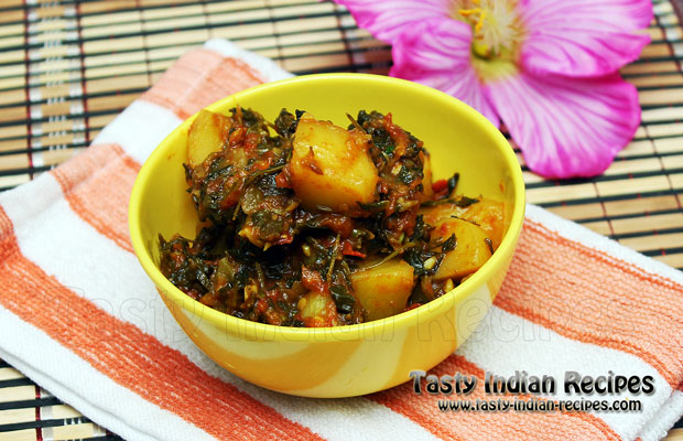 Aloo Methi Recipe / Potato With Methi Leaves Recipe