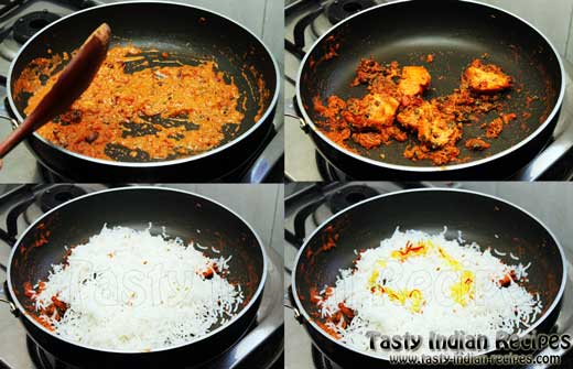 Chicken tikka biryani recipe step6g add remaining chicken tikka with gravy make a last layer of rice sprinkle a bit of orange color on one side forumfinder Images