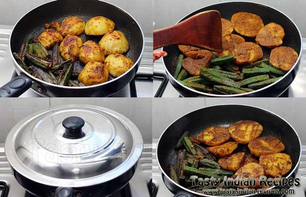 Stuffed Aloo Bhindi Recipe Step 6