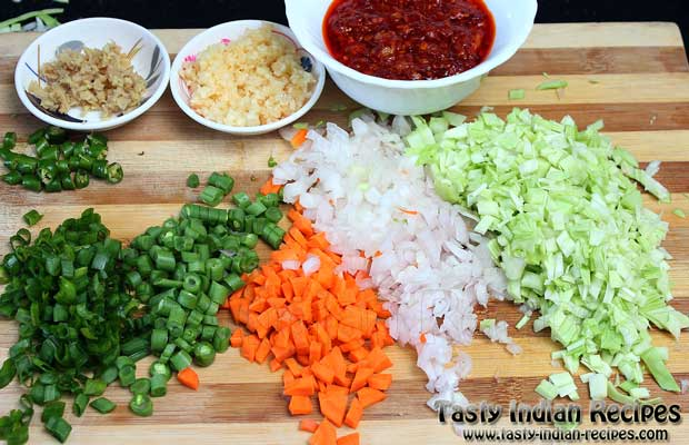 Veg Schezwan Fried Rice Recipe Ingredients